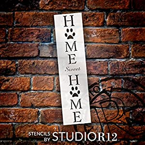 Home Sweet Home - Dog Paw Prints Stencil by StudioR12 | 2 Pieces | Reusable Mylar Template | Use to Paint Wood Signs - Porch Sign - Welcome - Animal | Select Size (8 x 19 (2 pcs)) (Tamaño: 8 x 19 (2 pcs))