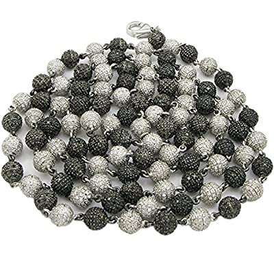 Mens 14k White Gold 18.34ctw Black white pave diamond bead ball chain NL6202
