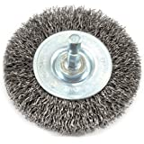 Forney 72735 Wire Wheel Brush, Coarse Crimped with 1/4-Inch Hex Shank, 3-Inch-by-.012-Inch