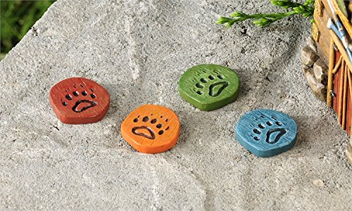Miniature Garden Paw Print Stepping Stones, 4 Assorted
