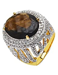 14.30 Grams Brown Glass & White Cubic Zirconia Gold Plated Brass Ring - B00XC2K7KQ