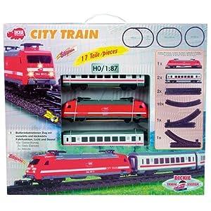 Dickie 3563900 City Train, Lok mit 2 Personenwagen für H0, Maßstab 1:87
