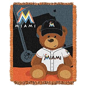 MLB Miami Marlins Field Woven Jacquard Baby Throw Blanket, 36x46-Inch by Northwest