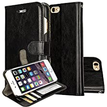 buy Iphone 6S Plus Case, Iphone 6S Plus Leather Case, Iphone 6S Plus Wallet Leather Case E-Joy® Wallet Card Slot View Stand Premium Protective Leather Cover Case For (Iphone 6S Plus, R64 Black)