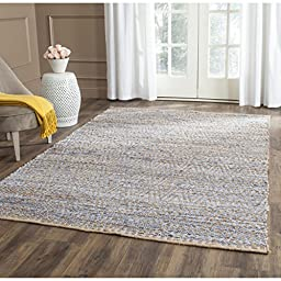 Safavieh Cape Cod Collection CAP351A Hand Woven Natural and Blue Cotton Area Rug, 4 feet by 6 feet (4\' x 6\')
