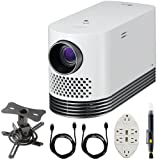 LG Laser Smart Home Theater Projector White (HF80JA) w/Bundle Includes, Projector Mount + 2x 6ft High Speed HDMI Cable + Transformer Tap USB w/ 6-Outlet Wall Adapter, 2 Ports + LCD/Lens Cleaning Pen