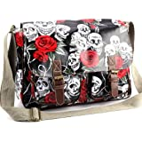 Anladia Grand Sac a Epaule Bandouliere Style Cartable Imprime Crane Floral Neuf Noir
