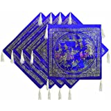 Five Pieces Dark Blue Satin Silk Cushion Covers Depicting Life In Traditional China - Satin Silk