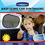 Car Window Shade - Large (2 Pack) by LYFESMART for SUVs and Minivans| Premium Baby Car Sun Shade | Easy Cling Kids Car Sunshade | Best for blocking over 97% of Harmful UV Rays (SUVs & Minivans)