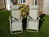 UK-Gardens SET OF 2 Multi Position Beige Metal Garden Lounger Recliner Relaxer Chair - Weatherproof Textoline