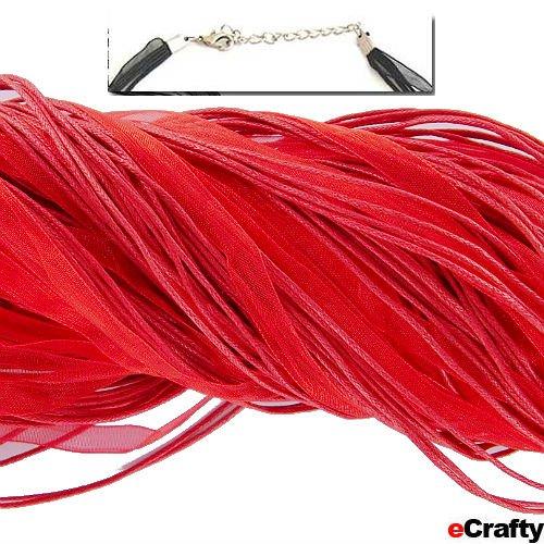 """Neck Cord 3 Strand Organza W/Clasp 18"""" Red 10Pc"""