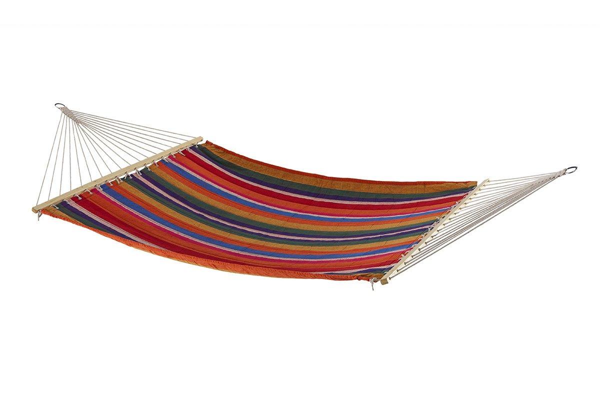 Hängematte mit Holzverstärkung und verchromten Eisenringen zum Aufhängen- sehr resistente Matte aus Polycotton - Größe 200 x 140 cm - mehrfarbig