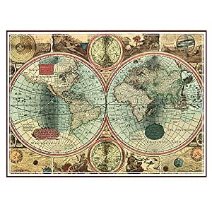 Wallies 15213 old world map wallpaper mural 2 sheet for Antique world map mural