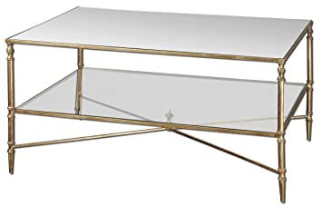 Minimalist Barstow Coffee Table | Glass Gold Iron Frame