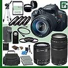 Canon EOS Rebel T5i Digital SLR Camera Kit with 18-135mm STM Lens and Canon EF-M 18-55mm STM Lens and Canon EF 75-300mm III Lens + 64GB Green's Camera Package 2