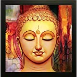 Buddha Painting - Frame Size (12 Inch X 12 Inch, (Wood, 30 Cm X 3 Cm X 30 Cm, Special Effect Textured) - Wall Decor || Wall Decals || Wall Hangings || Home Decor || Gift Items || Frame Size (12 Inch X 12 Inch, (Wood, 30 Cm X 3 Cm X 30 Cm, Special Effect T