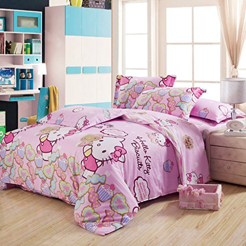 "Warm Embrace Children Bedding Series 100% Cotton Hello Kitty Pink Candy Duvet Cover Set & Fitted sheet,Twin 68"" x 86"",4 Piece"