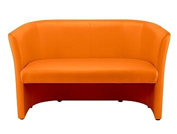 Dreams4Home Schweres Clubsofa 'Sam II', 2-Sitzer-Sofa, Sofa, Designsofa, Couch, orange, (B/H/T) ca. 129 x 77 x 50 cm