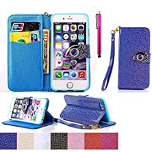 buy S6 Case, Jcmax High Impact Absorbent Pu Leather Burse Case With Popular Eagle Eye Pattern [Build In Stand] Durable Material Fitted Skin For Galaxy S6- Blue