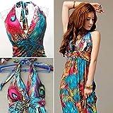 Leward-Women-Flaming-Empire-Waist-Summer-Boho-Halter-V-neck-Long-Beach-Dresses
