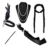 1920s Accessories Headband Necklace Gloves Cigarette Holder Flapper Costume Accessories Set for Women(aa) (Color: 11aa, Tamaño: Normal)