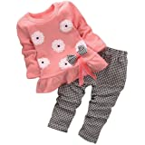 BomDeals Adorable Cute Toddler Baby Girl Clothing 2pcs Top&Pants Winter Outfits (Age(2T), Flower/Pink) (Color: Flower/Pink, Tamaño: Age(2T))