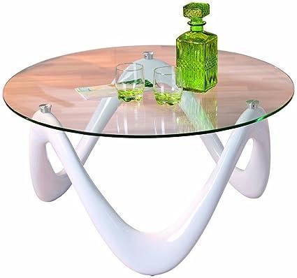 Table basse Valentine blanc en fibre de verre, 80 x 80 x 38 cm -PEGANE-