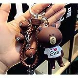 Thedmhom 1 Pcs Cute Kawaii Cartoon Love T-shirt Brown Bear Keychain Bear Head Bell Wrist Rope Key Chains Novelty Toy Gift Fashion Ornaments Coin Purse Korea Cony Bunny Keyring Bag Buckle Phone Pendant (Color: Brown, Tamaño: Medium)