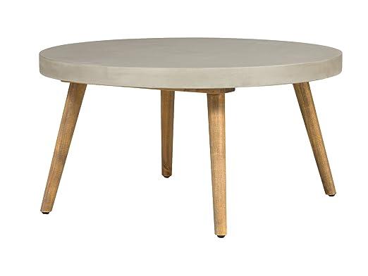 Massivum Gladstone Couchtisch, rund, Beton / Pinie, Holz, grau, 80 x 80 x 42 cm
