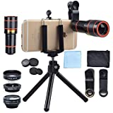 Cell Phone Camera Lens Kit, 4 in 1 12X Zoom Telescope, Camera Phone Lens with Tripod, Fish Eye Lens Wide Angle Lens Macro Lens for iPhone X 8 7 6 Pl