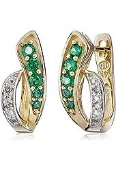 14k Yellow Gold Diamond Accent Hoop Earrings