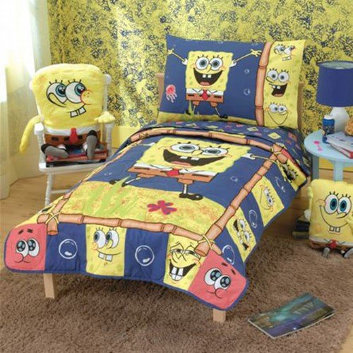 Spongebob Squarepants Throw And Pillow Set : How to SPONGEBOB SQUAREPANTS 4 PIECE TODDLER BEDDING BED SET QUILTED BEDSPREAD SHEET PILLOW CASE ...