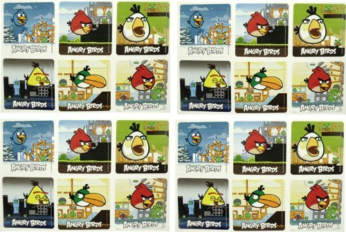 "ANGRY BIRDS STICKERS - Angry Birds Birthday Party Favor Sticker Set Consisting of 45 Stickers Featuring 6 Different Designs Measuring 2.5"" Per Sticker"