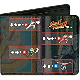 Street Fighter Character Moves Blue Bi-fold Wallet