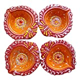 Store Utsav Diya Terracotta Drop Shaped Orange With Red Border - A Set Of 4