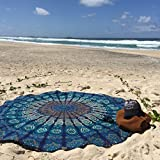 Indian Mandala Round Roundie Beach Throw Tapestry Hippy Boho Gypsy Cotton Tablecloth Beach Towel , Round Yoga Mat