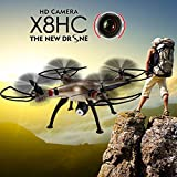 Voomall Syma X8HC 2.4G 4CH 6Axis RC Quadcopter Drone with 2.0MP HD Camera & New Height Hold Mode Golden
