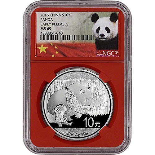 2016 China Silver Panda (30 g) Early Releases Red Core Holder 10 Yuan MS69 NGC