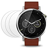 Screen Protector Compatible Moto 360 1st and 2nd Gen 46mm Smart Watch, AFUNTA 3 Pack Tempered Glass Film Anti-Scratch High Definition Shield (Color: Moto 360, Tamaño: Moto 360)
