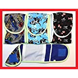 "SET - 3pcs Dog Puppy Diaper MALE Boy Belly Band Reusable Washable for SMALL Dog Breeds (Gray - Blue - Black, M - Waist 12"" - 13"")"