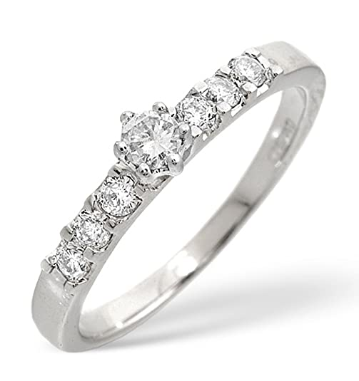 TheDiamondStore | Sidetone Engagement Ring - Genuine Diamond 0.33ct - 9K White Gold