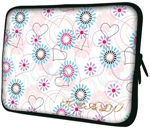 13 inch White Retro-chic Hearts / Aqua Flowers Notebook Laptop Sleeve Bag Carrying Case for most of MacBook, Acer, ASUS, Dell, HP, Lenovo, Sony, Toshiba
