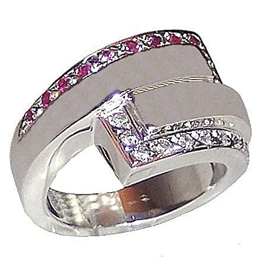 Act 925m silver ring size 16 rodiada with rubies [2268]