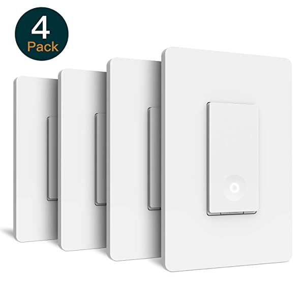 Smart Light Switch, Laghten Wi-Fi Light Switch, Works with Alexa, Google Assistant and IFTTT, Single-Pole, Schedule, Remote Control, Neutral Wire Required, Easy Installation, No Hub required - 4Packs (Color: White)