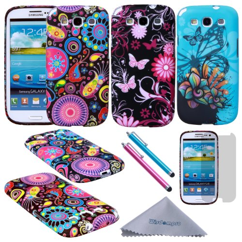 S3 Case, Wisdompro 3 Pack Bundle of Color and Graphic Soft TPU Gel Protective Case Covers for Samsung Galaxy S III / S3 (Jellyfish Butterfly Pattern) (Samsung Galaxy S3 Case Jelly compare prices)