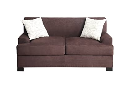 Chocolate Microsuede Loveseat by Poundex
