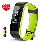 Heetik Fitness Tracker, Activity Tracker with Heart Rate/Sleep Monitor IP68 Waterproof Smart Wristband with Calorie Steps Counter Color Touch Screen Watch Pedometer For Kids Women Men (Black&Green) (Color: Black&Green)
