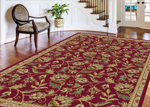 Universal Rugs 4960 Laguna Round Transitional Area Rug, 7-Feet 10-Inch, Red diaidi modern oriental area rug rectangle rug carpet washable soft rugs living room rug carpets for living room rugs and carpets for home living room kitchen rugs