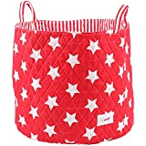 Minene Large Storage Basket with Stars (Red/ White)