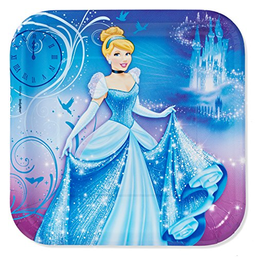 "American Greetings Cinderella Square Plate Party Supplies (8 Count), 9"" - 1"